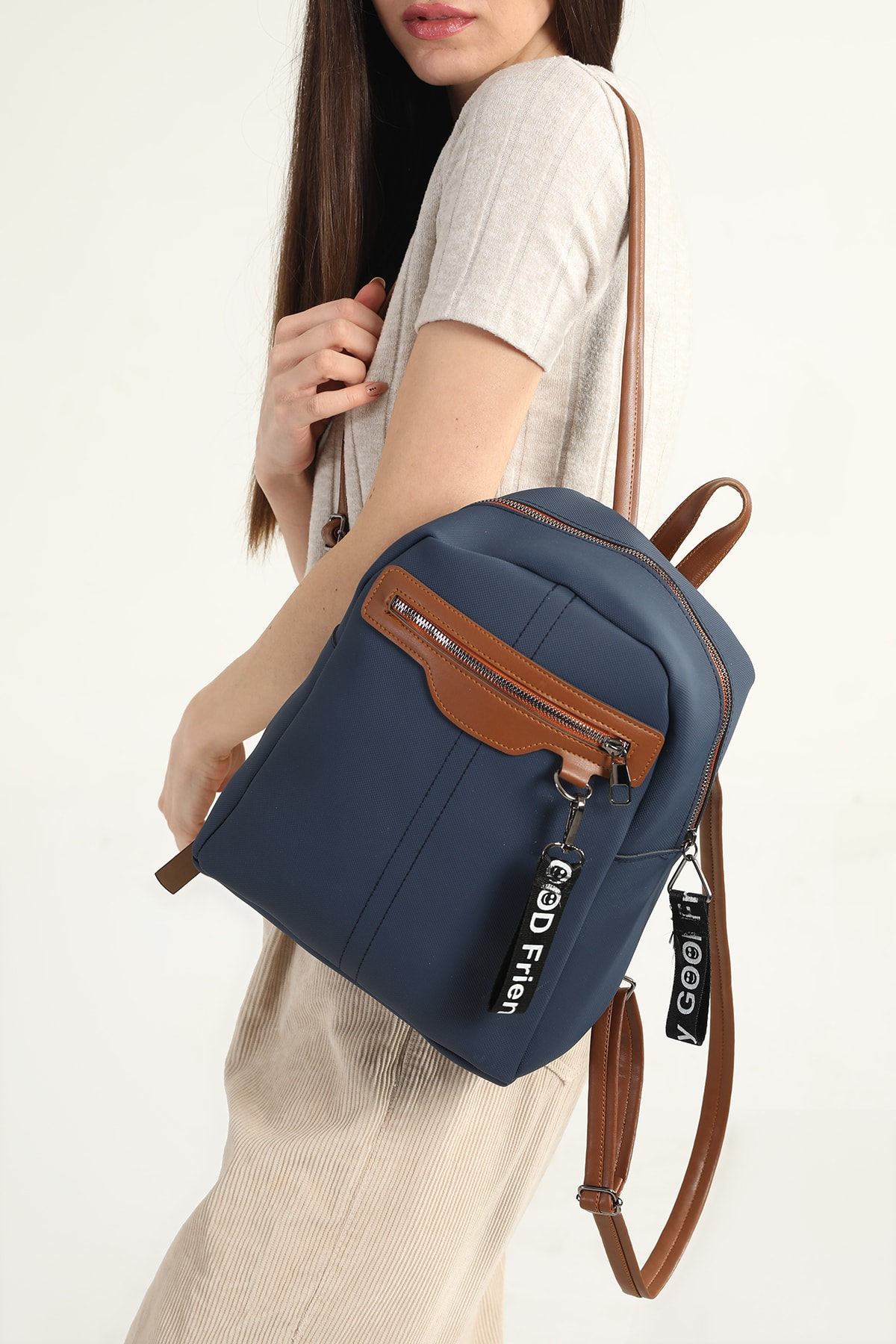 Navy Blue Women's Backpack 2021 Fashion Trend Shoulder Strap Waterproof Velvet Leather Casual Women's Shoulder Bag