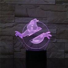 3D Illusion Led Night Light Lamp Movie Ghostbusters Office Room Decoration Kids Bedroom Nightlight Child Gift 3d Lamp Lampara
