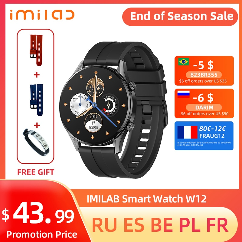 IMILAB W12 Smart Watch Men Women Bluetooth Smart Bracelet Sports Fitness Tracker Watch Heart Rate IP68 Waterproof Smart Watches