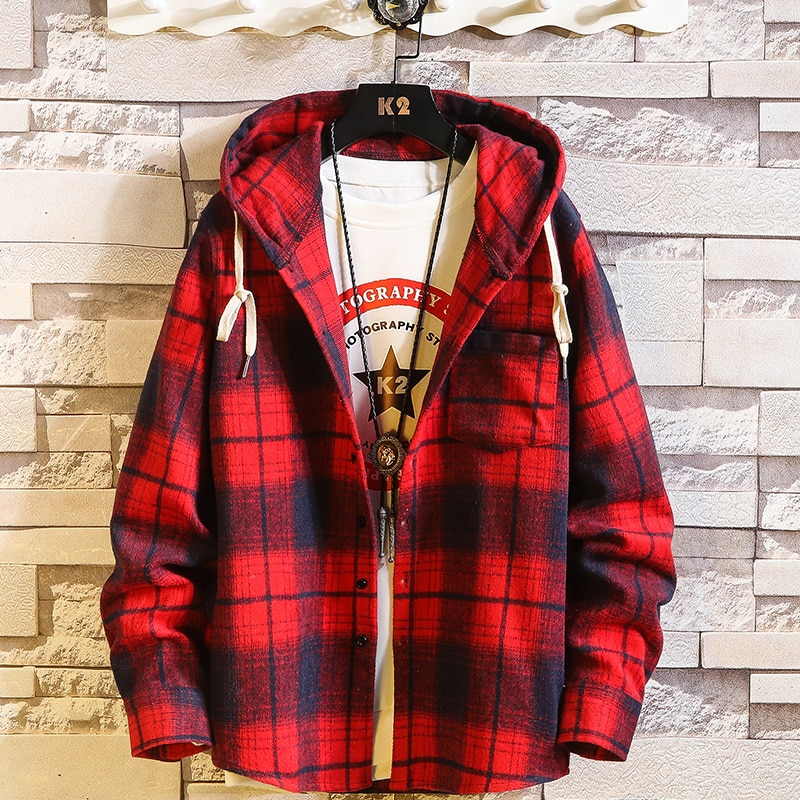 Повседневная брендовая рубашка в клетку с капюшоном, мужские флисовые красные рубашки с длинным рукавом, новинка 2020, весна-осень, большие ра...