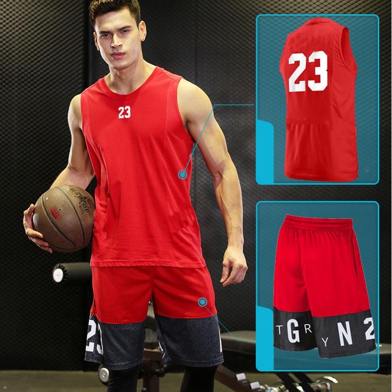 Camiseta de baloncesto para hombre, ropa deportiva para gimnasio, ropa deportiva para hombre NO.23, conjuntos de gimnasio para correr, traje de entrenamiento, ropa para correr con pantalones cortos