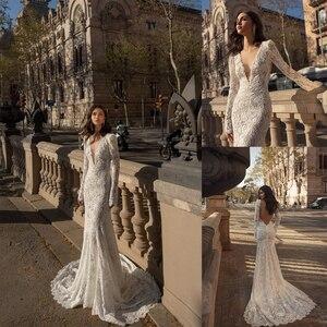 2020 Long Sleeves Mermaid Wedding Dresses Deep V Neck Lace Backless Boho Sweep Train Bridal Dress Custom Made