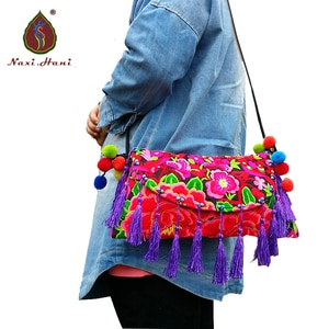 Naxi.Hani Embroidered women bags Vintage canvas shoulder bags cross-body bags tassel Travel bags