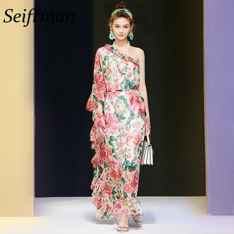 Женское праздничное платье Seifrmann, модельное Длинное Элегантное платье-трапеция с оборками и цветочным принтом на одно плечо, лето 2019