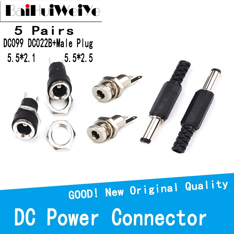 diy connector 5 5 2 1mm dc female power jack to usb 2 0 type a male plug female jack socket 5v dc power plugs adapter laptop u27 10PCS 5 Pairs Power Connector pin 2.1x5.5 2.5x5.5 Female Plug Jack + Male Plug Jack Socket Adapter DC099 DC022B DC-005