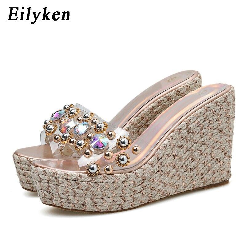 Eilyken de Metal de alta calidad decoración diamante PVC transparencia trenzado cuñas tacón zapatillas mujer Zapatillas de verano Sandalias Zapatos