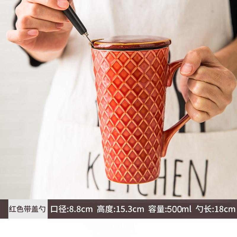 بسيط الشمال القدح عالية السعة السيراميك القدح للزوجين الرجعية مع ملعقة مع غطاء القدح مع غطاء مكتب القهوة الحليب القدح MM60MKB