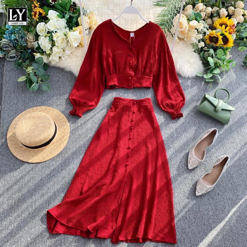 Женский однобортный костюм LY VAREY LIN, комплект из двух предметов, Топ с длинным рукавом и V образным вырезом, однотонная облегающая юбка с высокой талией, осень 2021