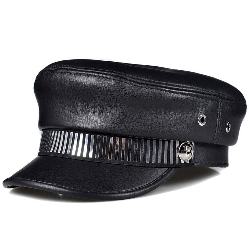 النساء الرجال قبعة مسطحة قبعة كاديت موضة 2021 الشتاء الدافئة أعلى جودة قبعة جلدية حقيقية الماركات الغنم القبعات العسكرية
