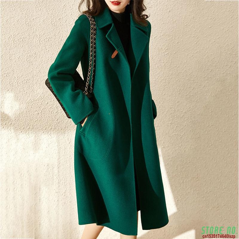 Women Elegant Retro Wool Coat With Belt Winter Warm Overcoat Outwear Plus Size Female Korean High Qu