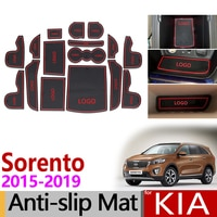 Anti-Slip Gate Slot Mat Rubber Coaster for KIA Sorento 2015 2016 2017 2018 2019 Sorento Prime UM MK3 Accessories Car Stickers