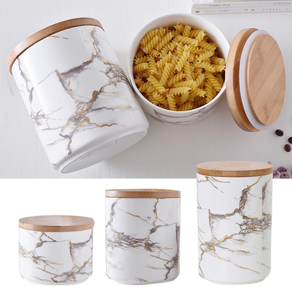 برطمان حلوى من السيراميك بنمط رخامي مع غطاء محكم خشبي ، برطمان حلوى البسكويت والبسكويت والقهوة والشوفان والشاي