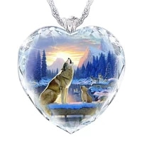 exquisite fashion womens heart shaped crystal wolf necklace pendant mother and son wolf necklace pendant womens heart shaped c
