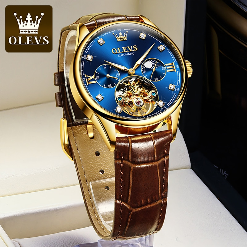 OLEVS Men Luxury HD Luminous Automatic Mechanical Waterproof Watches Leather Strap Moon Phase Perspective Tourbillon Watch 3601 enlarge