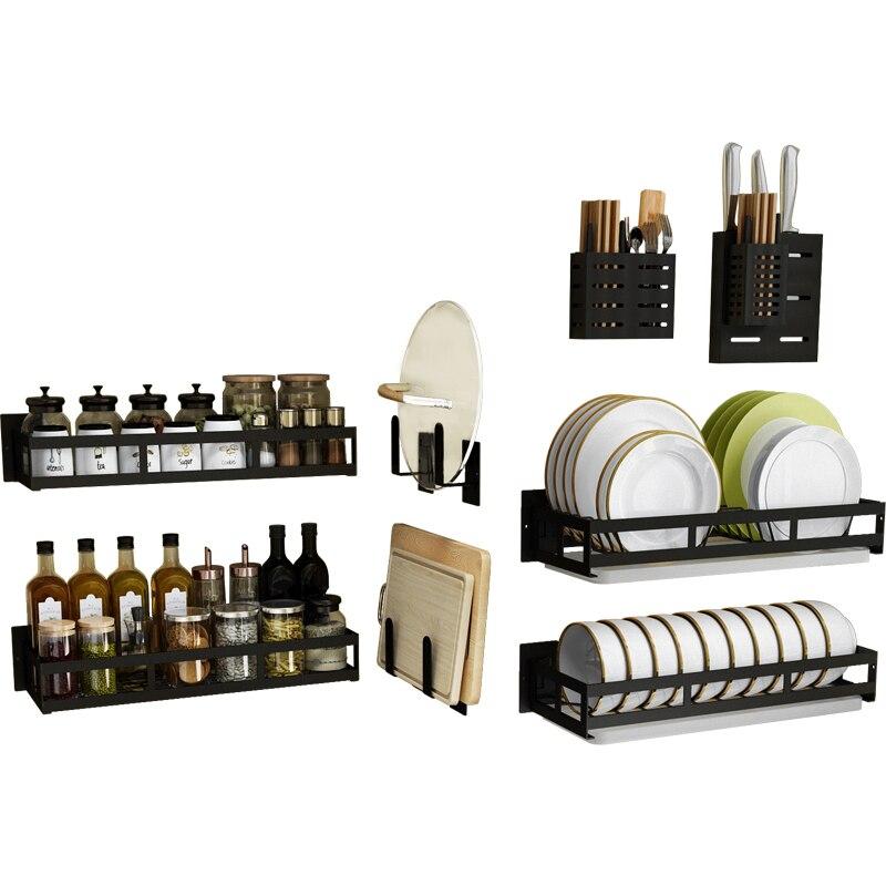 Estante de pared de cocina de acero inoxidable negro sin perforación, cuenco, plato, cuchillo, estante de palillos, estante de palillos, palillos chinos,