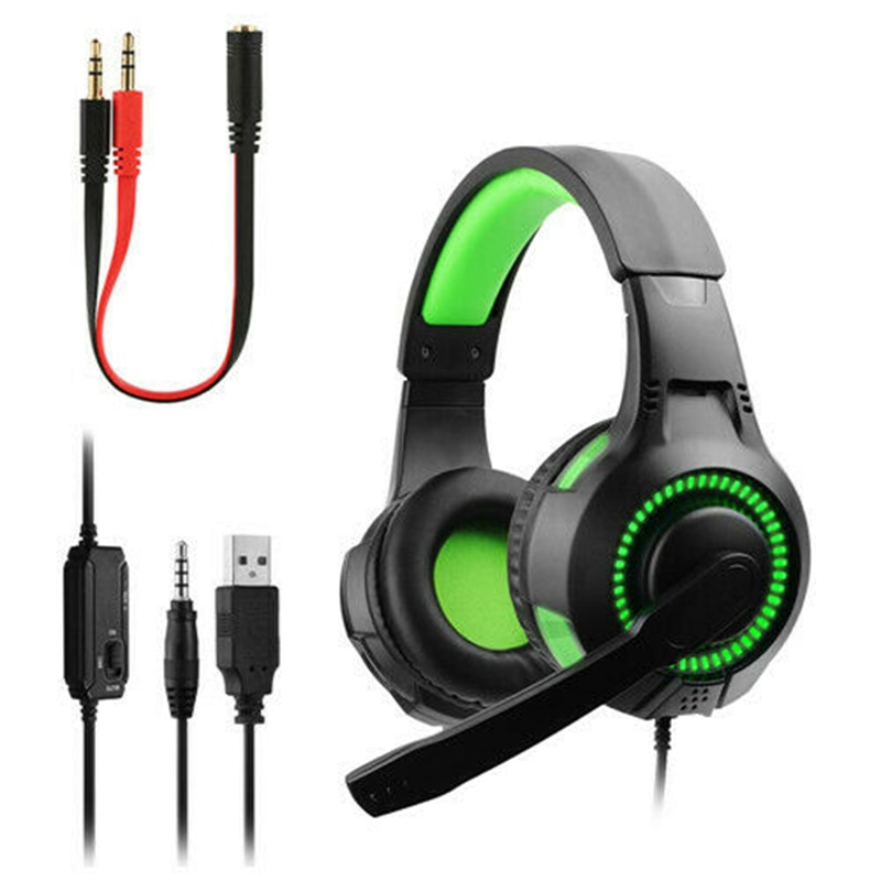 Auriculares estéreo de 3,5mm con graves Surround para juegos, auriculares con luz LED para PS4 Slim Pro Xbox One XPC PC Gamer Headphones US