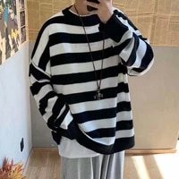 men striped casual knitted sweater mens korean collage autumn pullover tops male o neck oversize sweater fashions