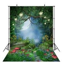Fantasy Wonderland Photography Backdrop Fairy Forest Mushroom Spring Green Background for Photo Studio Children Backdrops