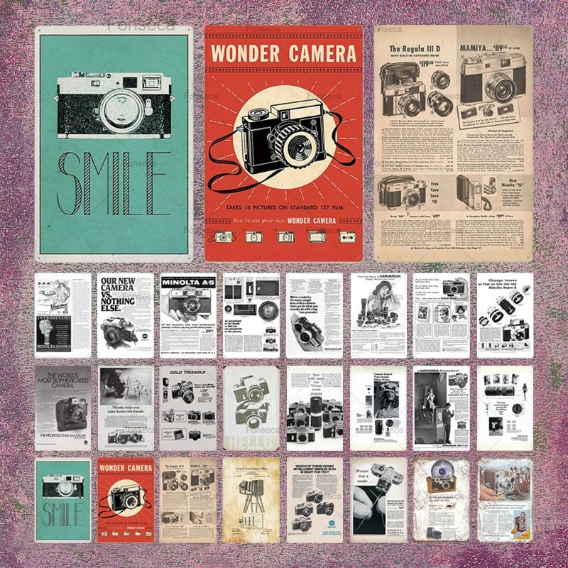 Camera Vintage Tin Sign Metal Wall Decor Metal Poster Plaque Man Cave Club Living Room Home Decor
