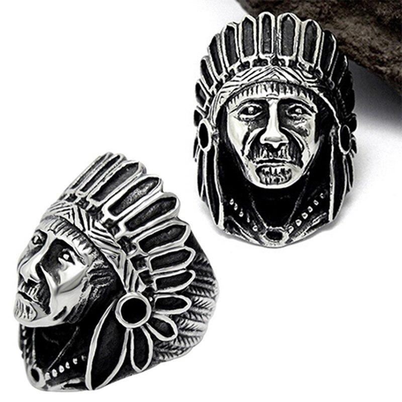 Vintage anillo de dedo de los hombres clásicos anillos joyería para mujer de aleación color plateado anillo motero punk jefe indio patrón anillo de regalo