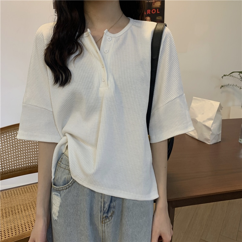 Knitted Short Sleeve Chic Top Women's Undergarment Summer 2021 New Loose Shorts American T-shirt