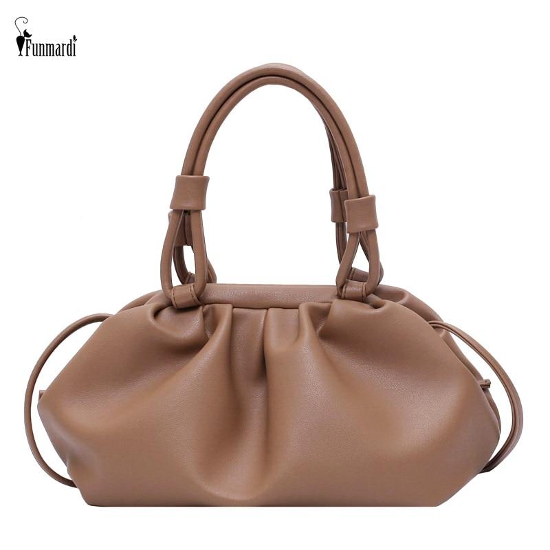 FUNMARDI Casual Dumpling Lady Handbags Cloud Shape Pleated Crossbody Bags For Women 2021 Soft PU Leather Shoulder Bags WLHB2134