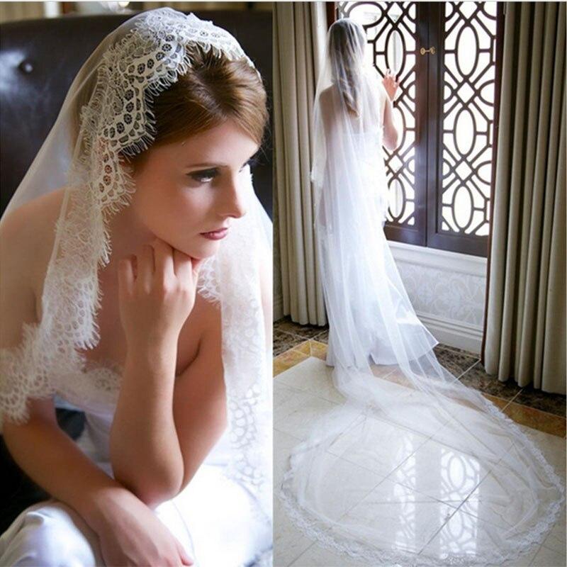 Barato 2020 nuevo 1T encaje largo velo de novia longitud de la catedral velo de novia accesorios de boda