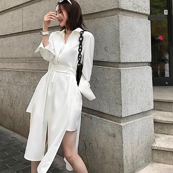 Autumn Women Dress fashion Style Slim Waist Shirt Dress Long Sleeve Ladies Elegant Minii Dress Vestidos DB263