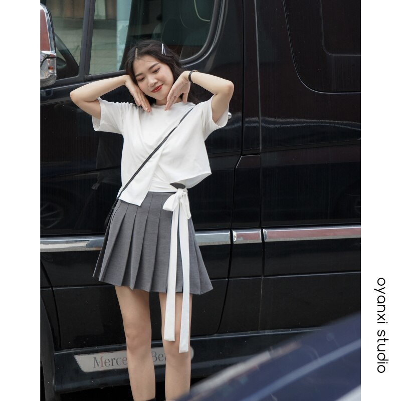 2021 Summer New High Waist Thin Pleated Skirt Women's Korean Version Simple College Style Solid Colo