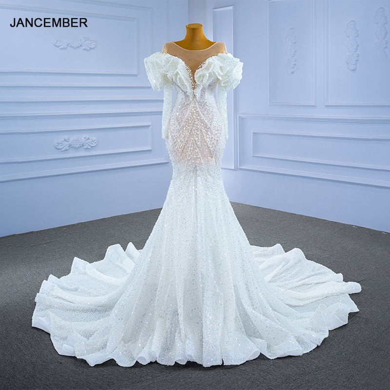 فستان زفاف RSM67280 أبيض مثير برقبة على شكل حرف v شفاف دانتيل 2021 أكمام منتفخة لؤلؤ مطرز بالخرز رداء De Soirée De Mariage