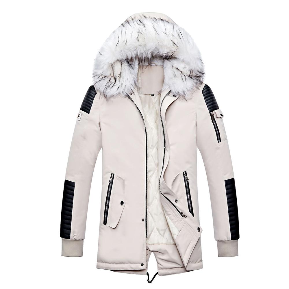 Autumn Winter Parka Men Windbreak Warm Windproof Fur Collar Coats Male Hooded Jackets Men Cotton Padded Jackets Coat Streetwear