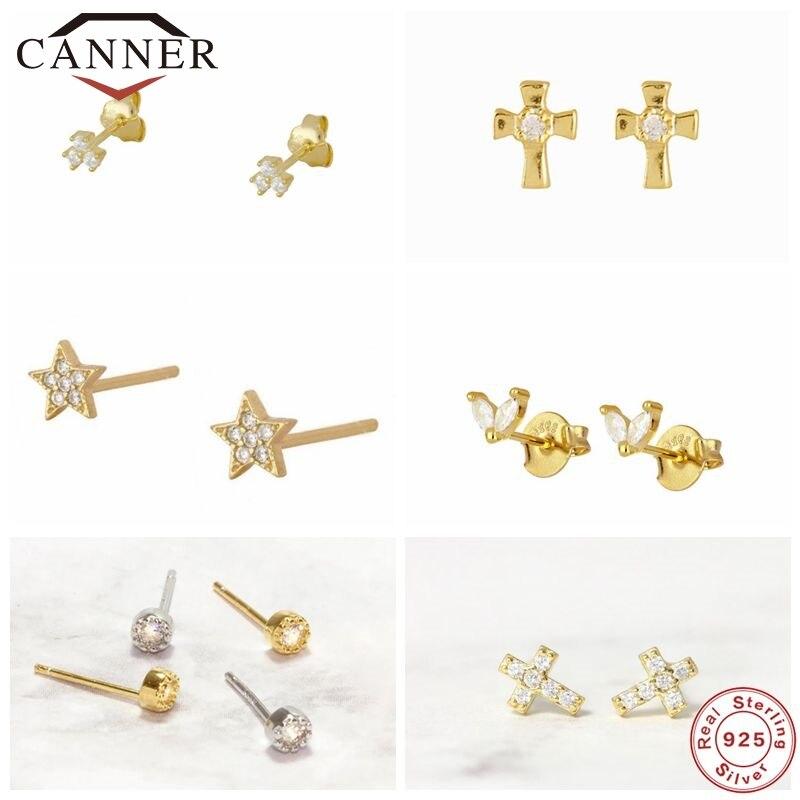 EINDOSER 100% 925 Sterling Silber Zirkon CZ Kleine Stud Ohrringe Für Frauen Mädchen Gold Farbe Piercing Schmuck Ohrringe pendientes