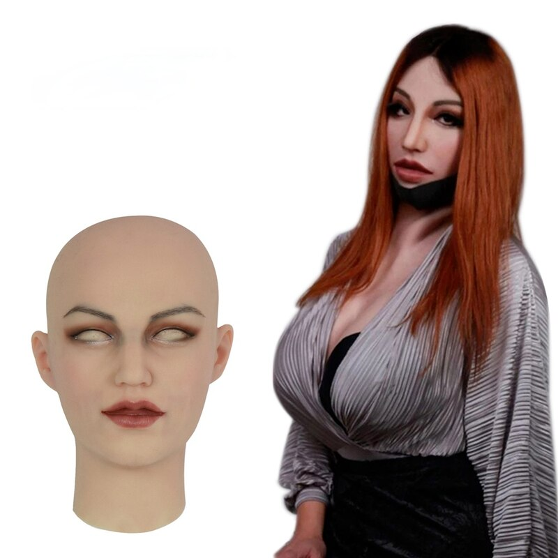 Lifelike Mask Transvestite Women's Hat Permanent Makeup Mask Cosplay Transgender