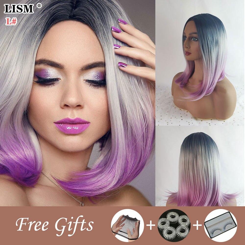 Новинка, фиолетовый синтетический кружевной парик Лолиты с челкой для косплея, синий прямой, Sinteticas Mujer Perruque Femme Fashion Water Wave
