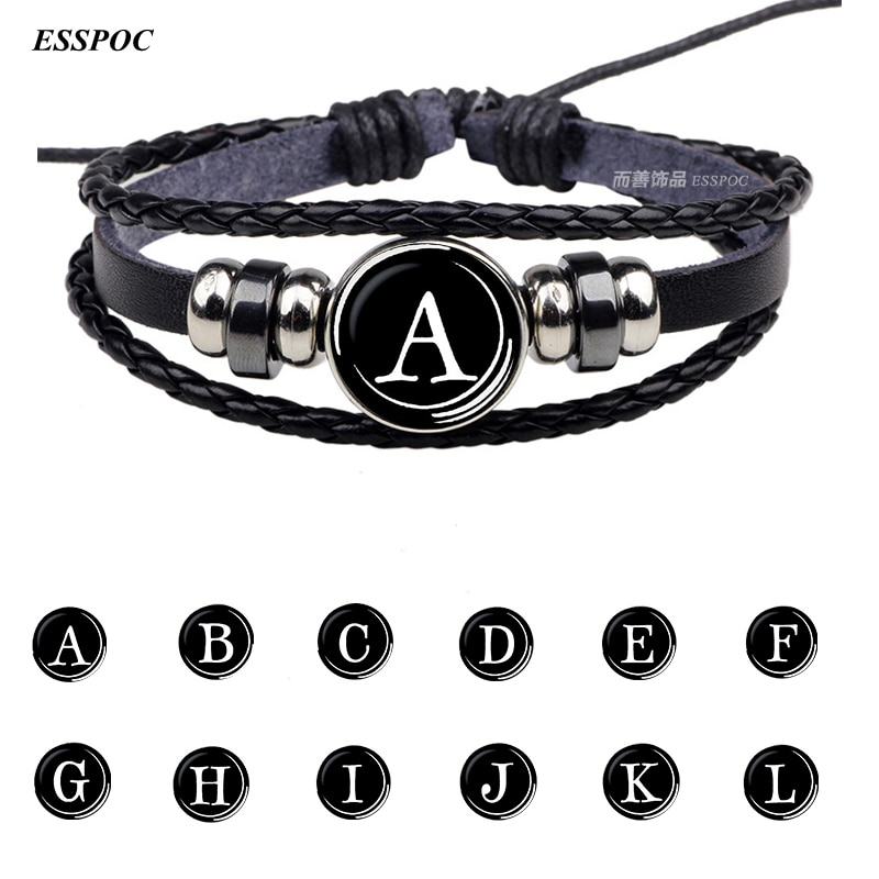 26 Letters Bracelet Personality Team Name Rope Bracelet Black Leather Bracelet Button Bangle Men Women Fashion Birthday Gifts недорого