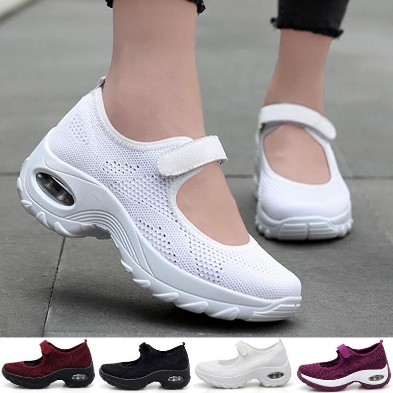 حذاء تنس نسائي ، حذاء صيفي شبكي سميك ، مسطح ، منصة غير رسمية ، مشي ، زيادة 5 سنتيمتر