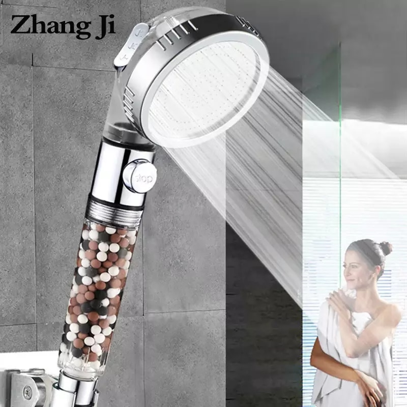 ZhangJi Bathroom 3-Function SPA Shower Head with Switch Stop Button high Pressure Anion Filter Bath Head Water Saving Shower