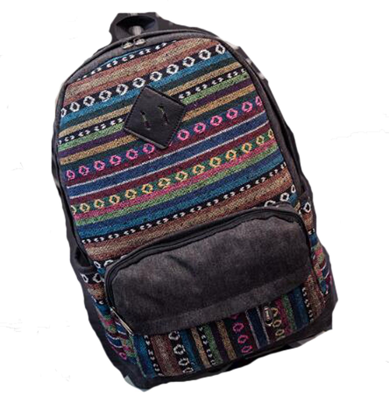 Joyloading Lona de cáñamo Boho/azteca raya Multi bolsillo mochila Hippie/Tribal Laptop bolsas Bohemia Boho