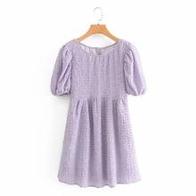 Summer Women O-Neck Puff Sleeve Mini Dress Fashion Femme Loose Dresses Woman Clothes D5901