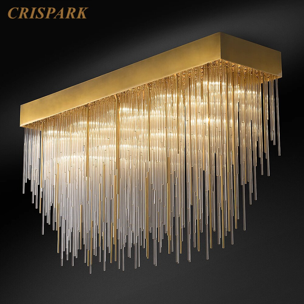 CASCADA Postmodern LED Chandelier Lighting Gold Luxury Living Room Ceiling Light Indoor Villa Crystal Rectangular Large Lamp