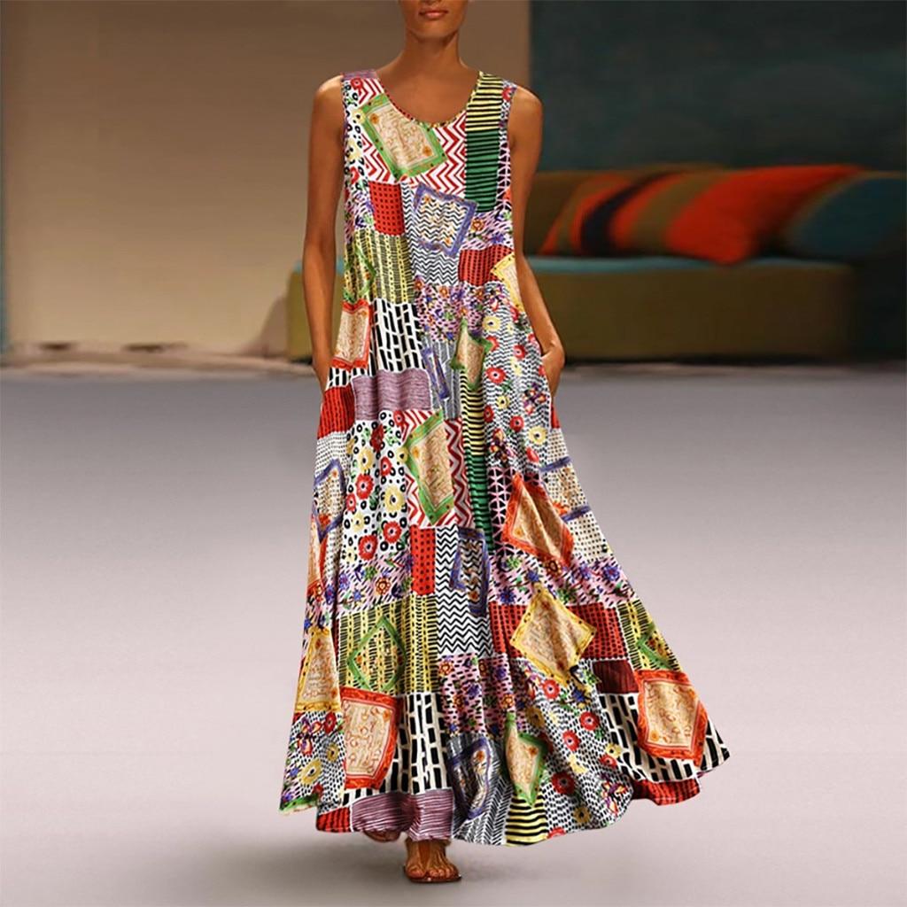 Fahion Frauen Kleider Vintage Stlye Druck Floral Patchwork Sleeveless Oansatz Lose Maxi Kleid Casual