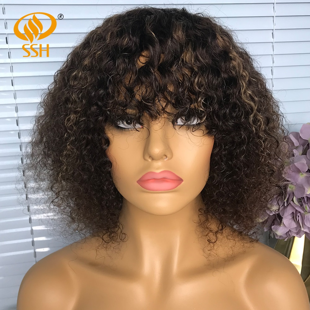 SSH Highlight Brown Color Brazilian Curly Human Hair Wigs with Bangs 180% Density Deep Wave Glueless