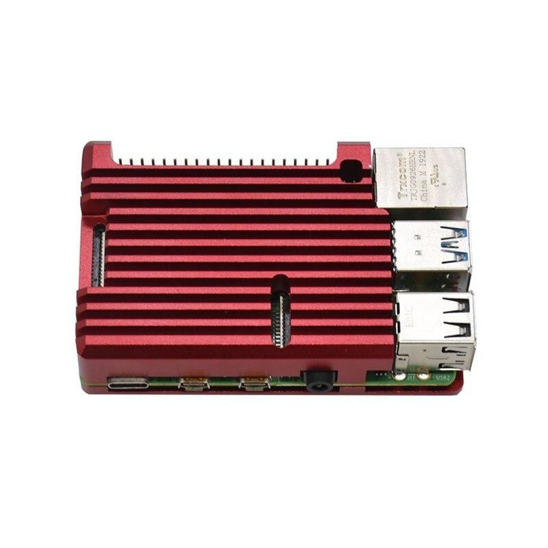 Für Raspberry Pi 4 Modell B 4GB RAM Unterstützung 2,4/5,0 GHz WIFI Bluetooth 5,0 mit Aluminium CNC legierung Schutzhülle (Rot)
