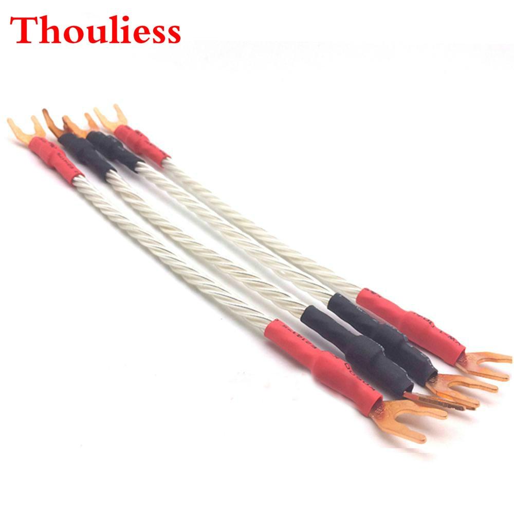 Thouliess 4 Uds Hola-CMC Rojo puro cobre Yspade Nordost Odin 7N OFC chapados en plata puente de Cable de Audio de alta fidelidad puente para altavoz Cables