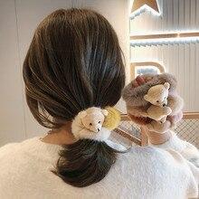 Girls Cute Cartoon Animals Plush Bear Elastic Hair Bands Ponytail Holder Scrunchies Kid Hair Accesso