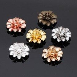 10 pçs/lote 14*5 Bronze seis milímetros Da Pétala Da Flor Beads Caps Conectores Para Jóias de Ouro Cor Prata Material Brincos DIY Fazendo 0274