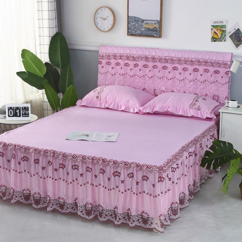 مفرش سرير من الألياف الدقيقة بلون سادة ، غطاء مرتبة مزدوج مع شريط مطاطي مرن