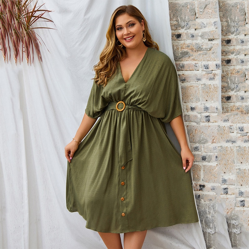 Oversized elegante vestido de festa feminina 2020 verão plus size algodão vestido feminino com decote em v midi vestidos para mulher vestido bodycon 4xl