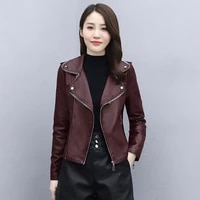 locomotive pu leather woman jacket short 2021 spring autumn jacket female new casual slim plus size long sleeved suit woman tops