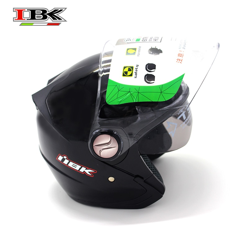 IBK Moto Helmet Open face Sun-Visor protective Electric Bicycle Scooter Casco Casque 3/4 Double Visor Black Helmet IBK-720 enlarge